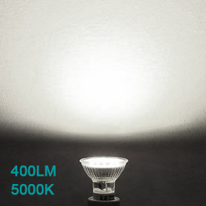 The track lighting kit comes with six GU10 LED bulbs, giving off 5000k daylight white light