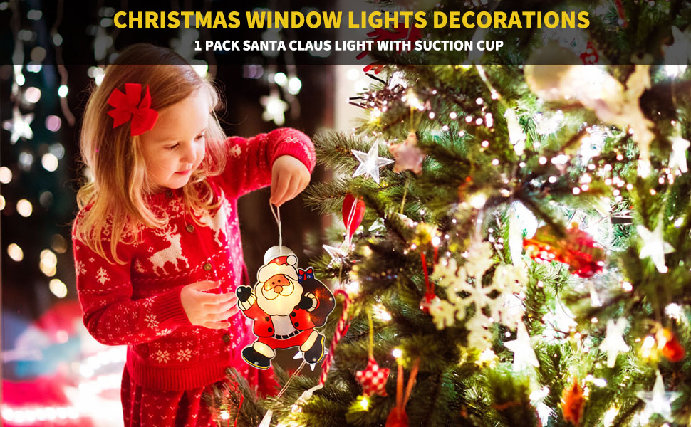 Year Suction Cup Christmas Fairy Lights Window Hanging Lights Santa Claus Led