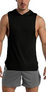 workout sleeveless hoodies for men