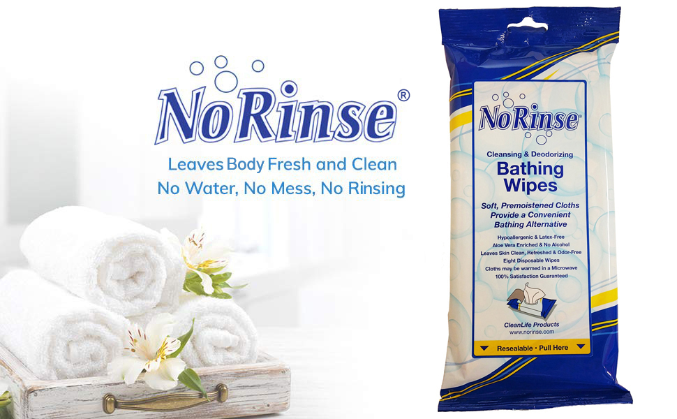 no rinse bathing wipes, body wipes, bath wipes, shower wipes