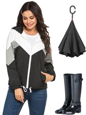 womens hiking jacket Raincoat Women Waterproof Rain Jackets Packable Outdoor Hooded Windbreaker