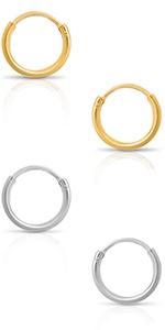 Hypoallergenic Huggie Hoop Earrings - 925 Sterling Silver Endless Round Tiny Small Stud