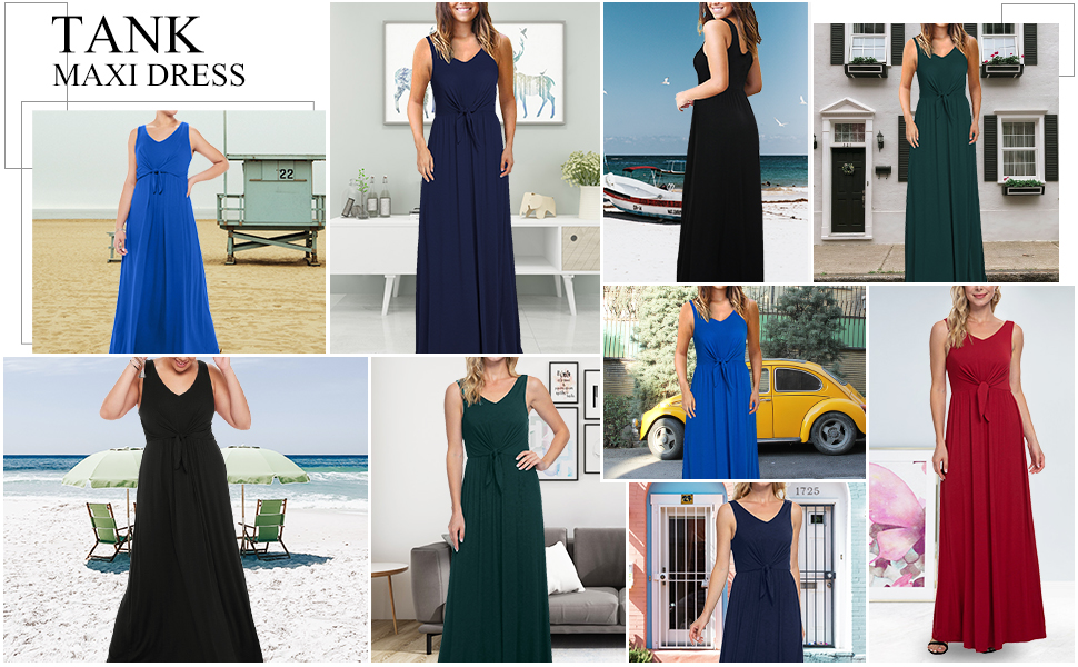 Knotted front Sleeveles summer Tank maxi dress