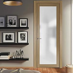 modern glass wood flush interior door prehung trims frames