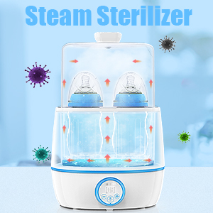 bottle warmer - Baby Bottle Warmer & Bottle Sterilizer, Eccomum 6-in-1 Double Bottle Warmer For Breast Milk, Baby Food Heater With LCD Display Accurate Temperature Control, Constant Mode, Fit All Baby Bottles