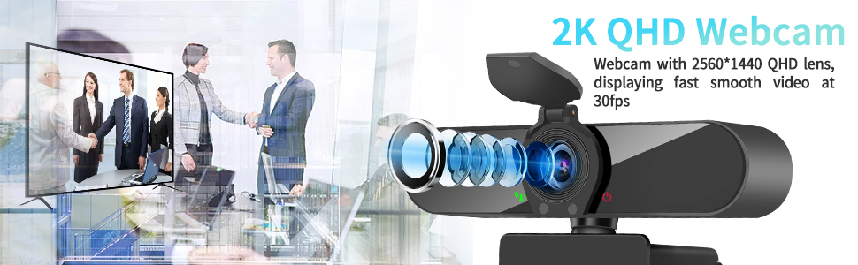2K Streaming Webcam with Microphone