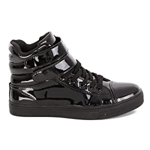 Side View Black Glossy, Black Glossy Sneaker, Alexandra Black Sneaker, Mid black sneaker
