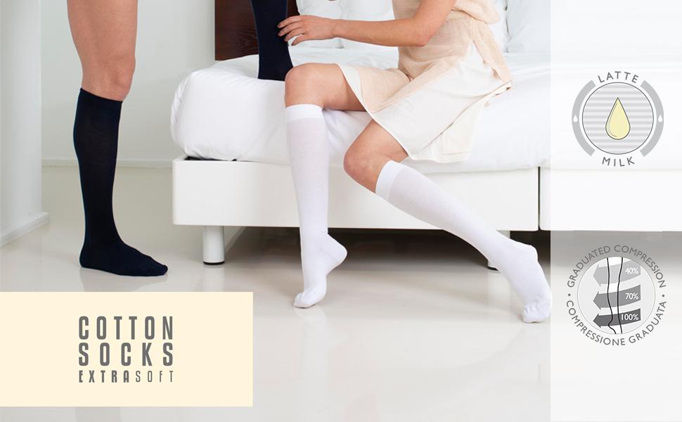 fibra al latte, calze, calzini, gambaletti, donna, uomo, idratanti, compressione graduata, mmgh