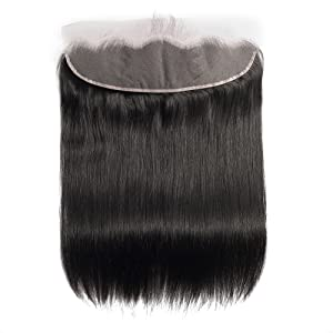 Brazilian Straight Human Hair 13*4 Lace Frontal Closure Free Part, Medium Brown Color