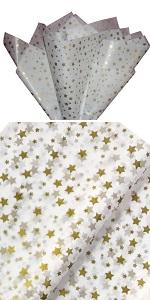 Gold stars tissue paper wedding gift wrap