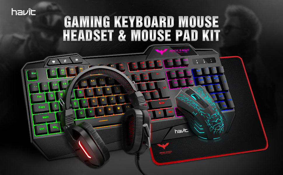 Gaming keyboard mouse headset& mouse pad kit