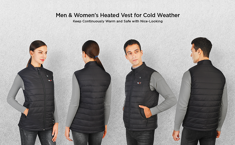 women and men's heated vest with battery pack