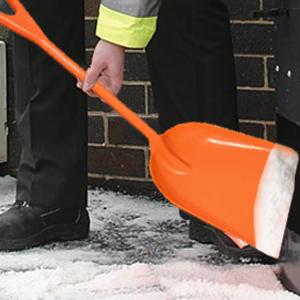 Ashman Plastic Snow Shovel with Fiberglass Handle Multi-Purpose Polypropylene Shovel