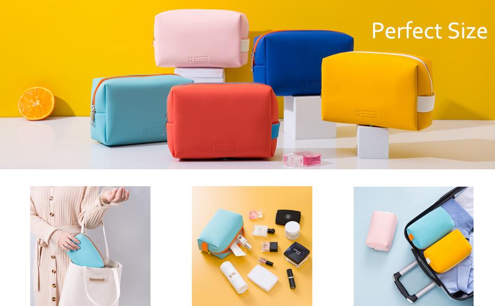 6MIRASON Cosmetic Bag Set of 3 Makeup Purse Waterproof Pouch Travel Beauty Zipper Bag