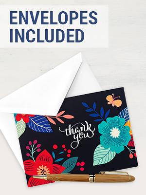 thank you cards envelopes included blank bulk notes green navy blue red 4x6 paper girl greeting card