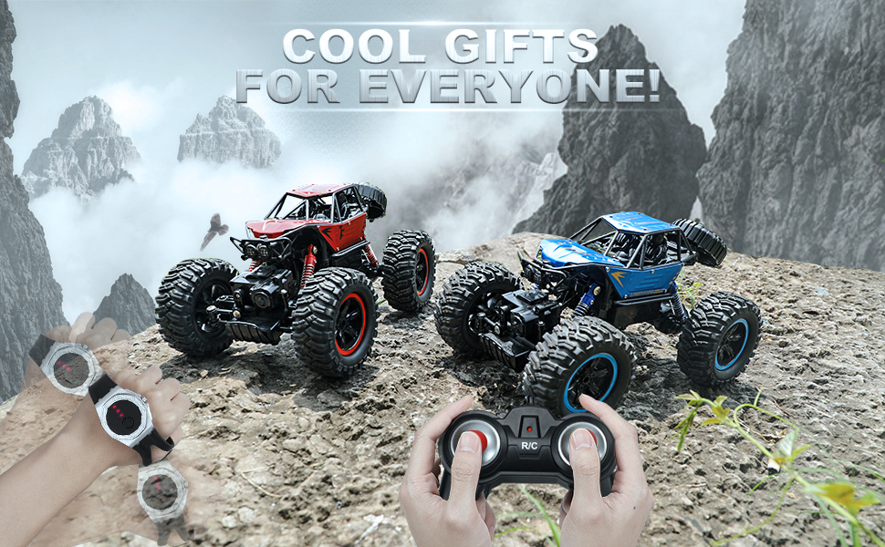 red and blue rc car on the road,cool gifts for everyone