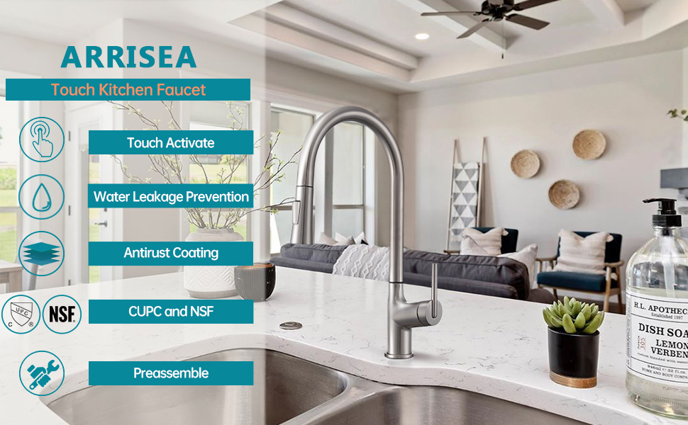 All features of the ARRISEA kitchen faucet