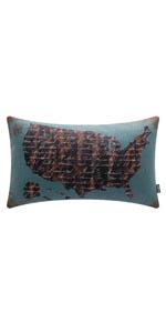 Trendin Black American Map Pillow Cover