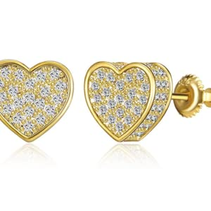 18k Gold Plated Round Stud Earring For Men and Women