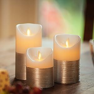 Bewegliche Flamme mit 2 Fernbedienungen /& Timer Dekoratives Wohnkultur Silberne LED Kerzen Flammenlose flackernde Flamme Batteriebetriebene elektrische Echtwachskerze mit realistischem Flimmern
