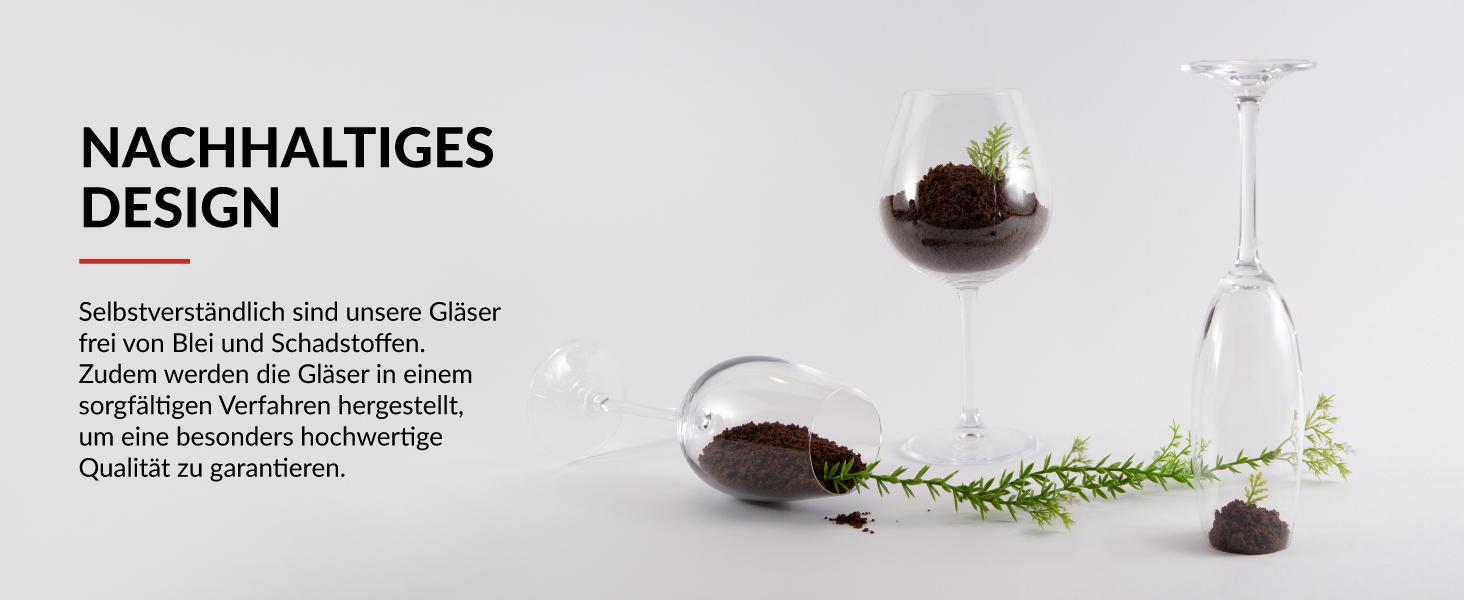 Umweltfreundliches Kristallgläser Set und nachhaltiges Weinglas Set