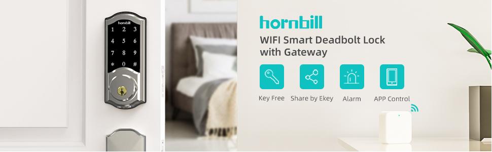 hornbill wifi smart deadbolt lock with gateway