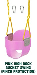Pink High Back Bucket Swing Dipped Triangle