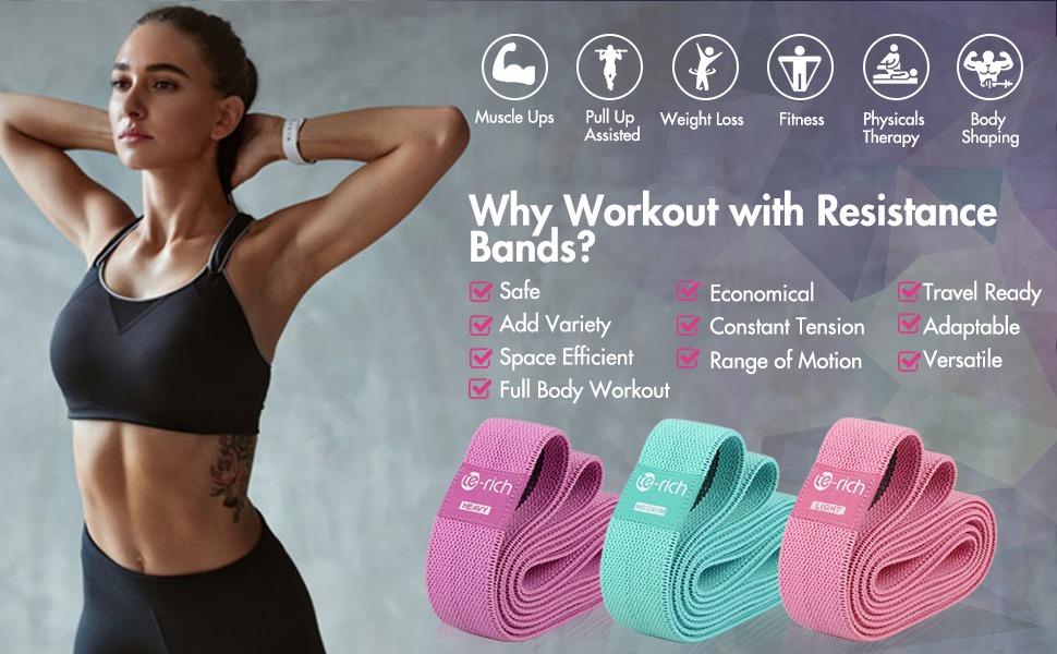 long fabric resistance band set for women home gym workout