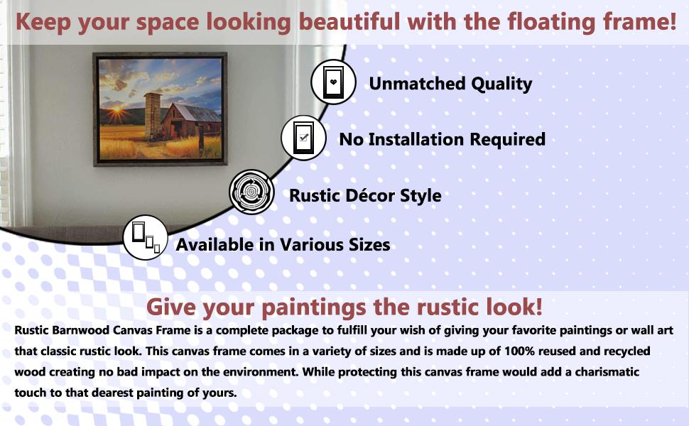 BarnwoodUSA Rustic Barnwood Canvas Frame Advantages