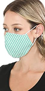 auline collection summer green checker face mask