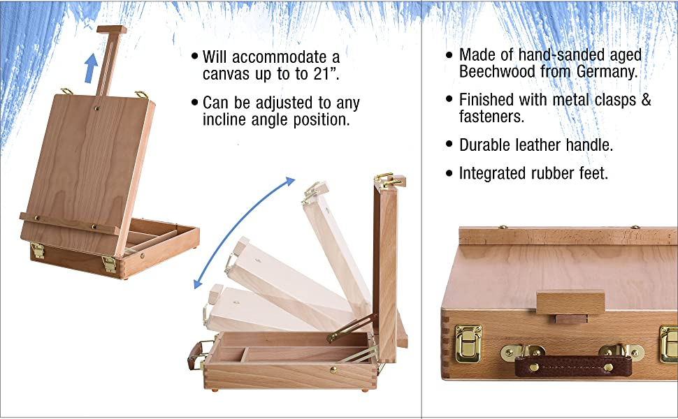E-508 Antiqua Wood Table Sketch Box Easel