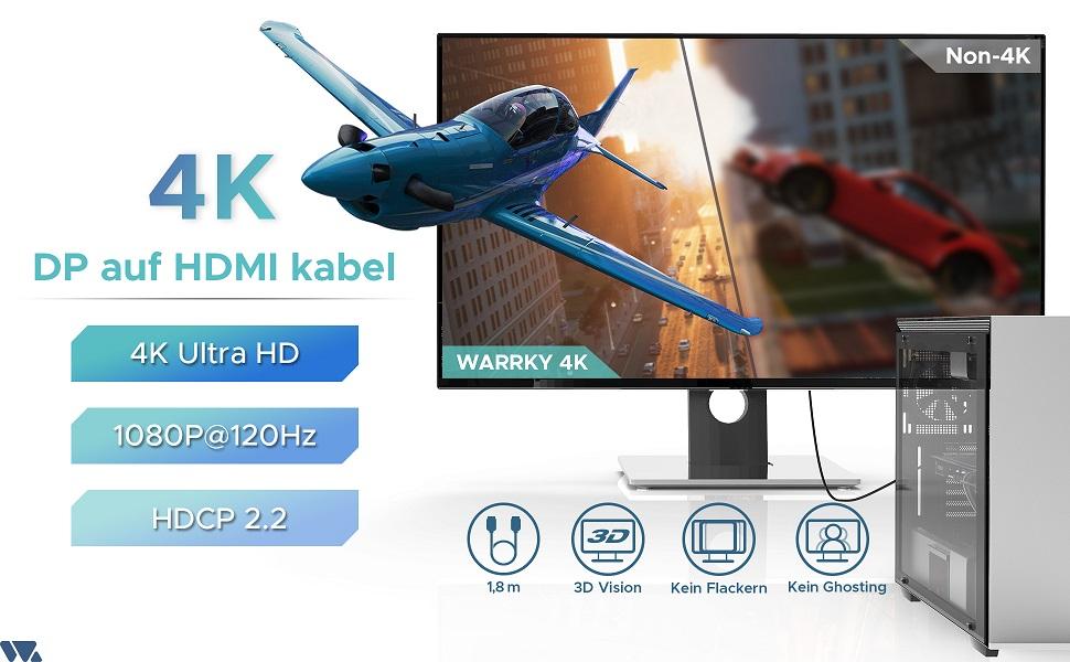 displayport hdmi kabel auf zu 4k adapterkabel connector dp gpu display pmännlich Video 1.4 hdcp 2.2