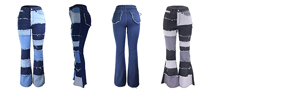 women patch work jeans with bell bottom