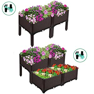 self waterping planters raised beds kit plastic with legs free gloves