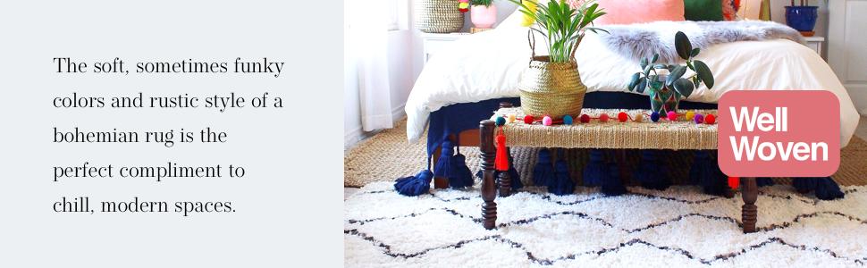 Well Woven Nomad Shag soft plush bohemian Moroccan tribal shag rug.