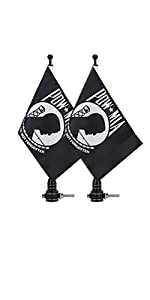 """Motorcycle Flagpole Mount 6"""" x 9"""" Flag POW MIA You are Not Forgotten Flag American Flags"""