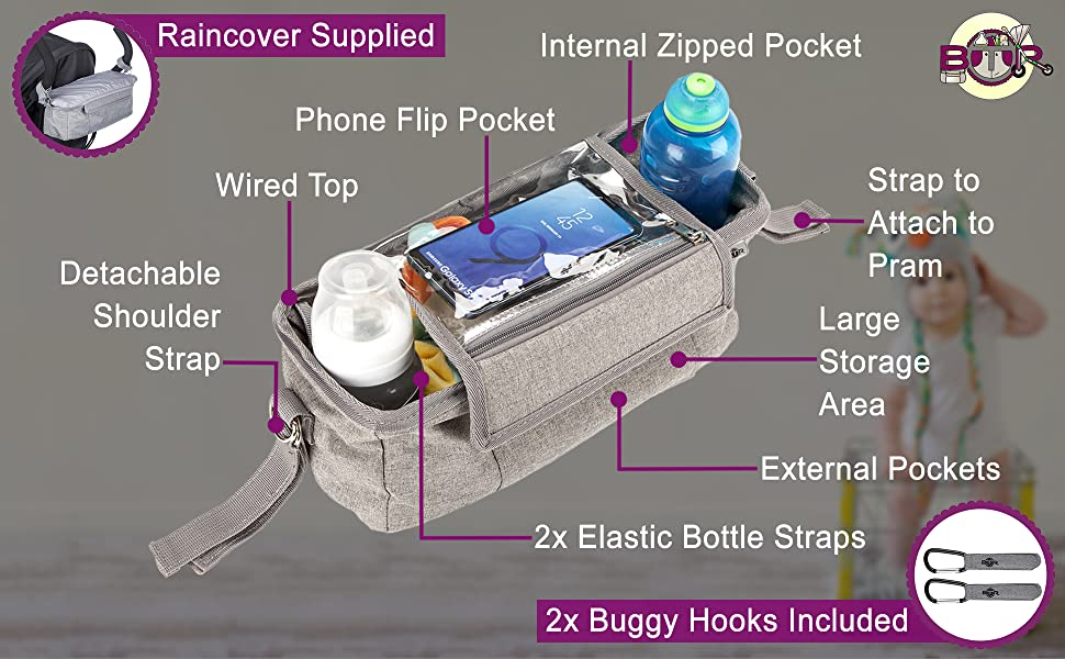 BTR buggy organiser shown with features, including phone pocket, shoulder strap and Pram Hooks