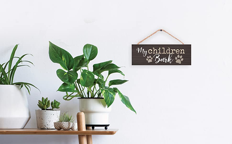 Details about  /My Children Bark Natural Brown 10 x 3.5 Pine Wood Decorative String Sign