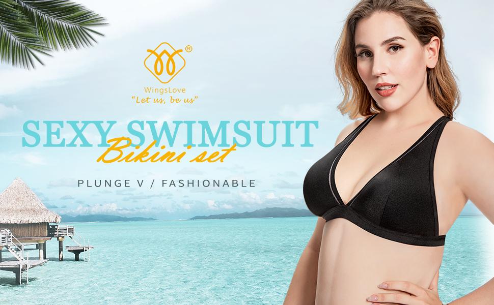 Wingslove Women Sexy Two Piece Swimwear Plunge V Swimsuit Bikini Set Plus Size Bathing Suit