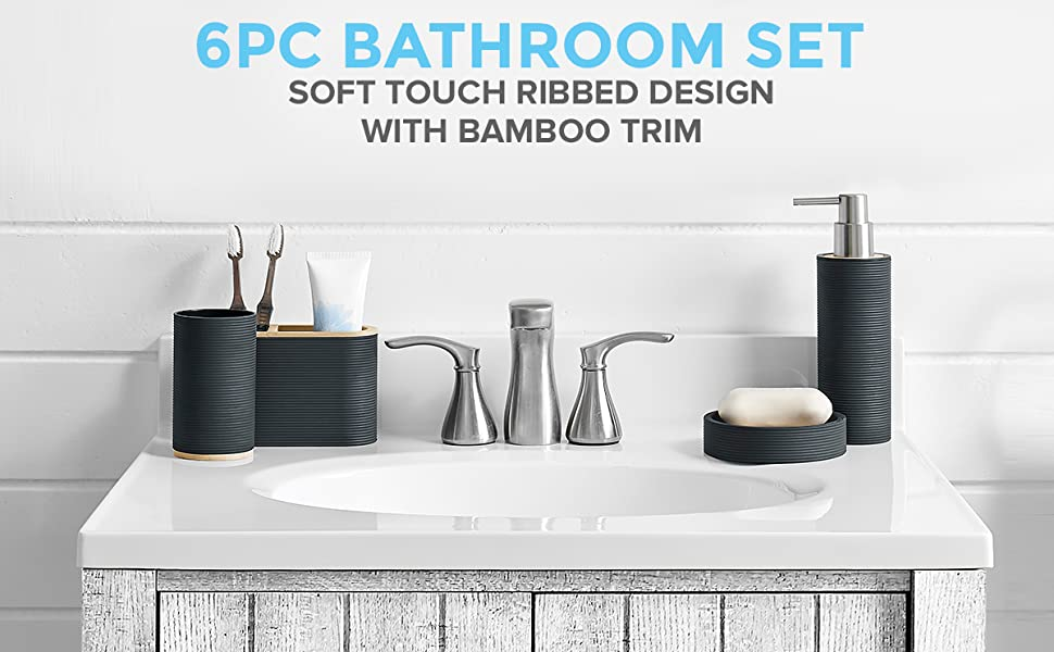 6PC BATHROOM SET SOFT TOUCH RIBBED DESIGN WITH BAMBOO TRIM
