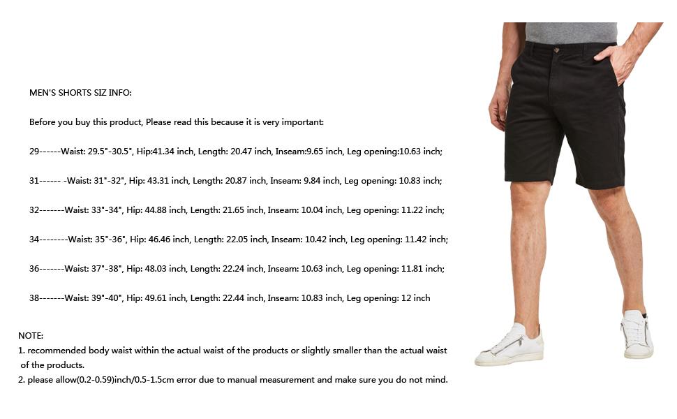 Men's shorts size details