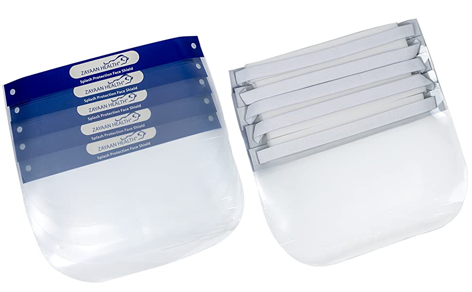 Image of disposable and reusable PET face shields in bulk durable lightweight protection.