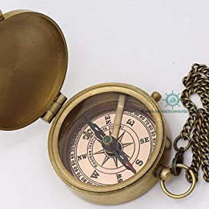 Solid brass compass w/chain