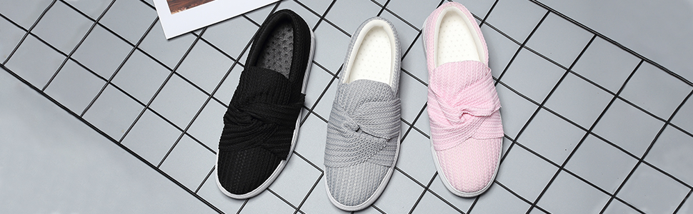 5a09cf2edde93 Susanny Loafers for Women Fashion Sneakers Women Flats Comfortable Platform  Slip on Loafer Bow Knitted Twist Walking Shoes