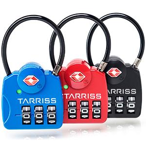 Red, blue, black TSA locks, cable locks