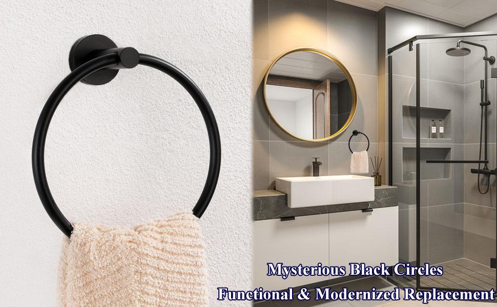 1 pcs Black Single Towel Ring Rack Rail Toilet Paper Holder Wall Bathroom