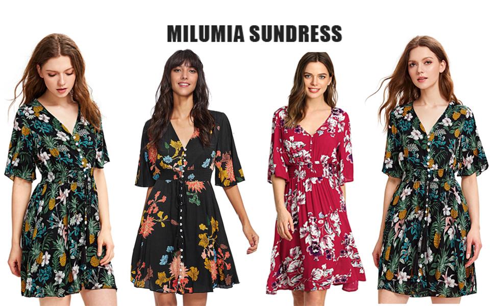 Milumia Sundress Floral Print Flowy Dress