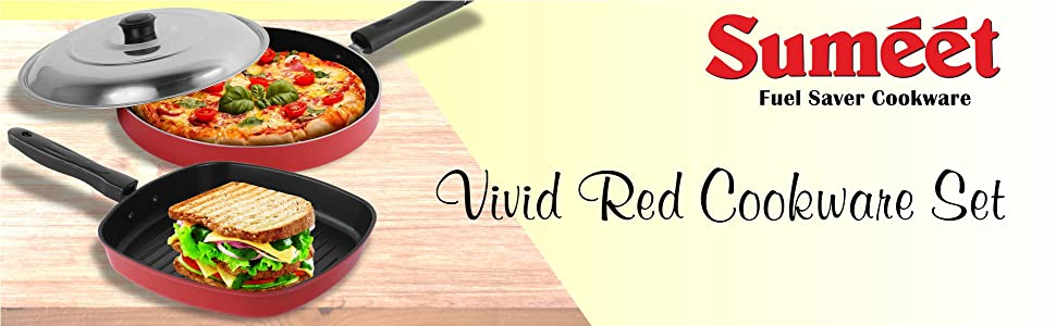 SUMEET VIVID RED COOKWARE SET