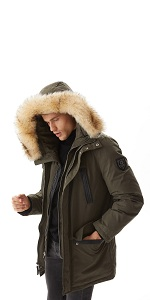 Mens Winter Leather Hooded Fur Collar Down Jacket Coat Warm Parka M-4XL HOT A39