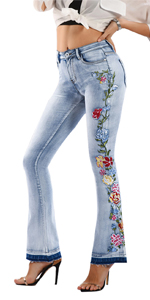 Women's Floral Embroidered Mid Rise Flare Denim Pants Bell Bottom Jeans